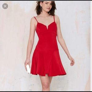 Nasty Gal - Flare Dress - Red - XS
